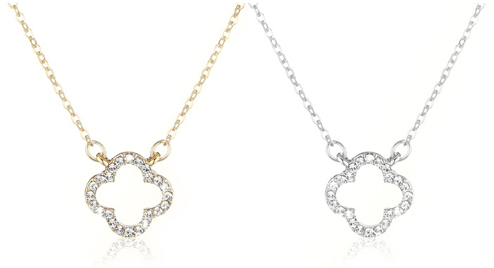 Gold Or Silver Necklaces With Small Clovers and Swiss Crystals