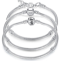 925 Sterling Silver Plated Snake Chain Bracelet & Bangle