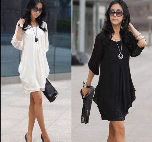Ladies Chiffon Lantern Sleeve Dress