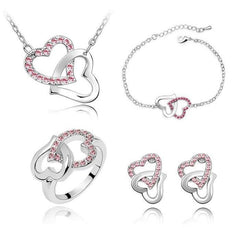 White Gold Plated Double Heart Necklace, Earrings, Bracelet and Ring Set