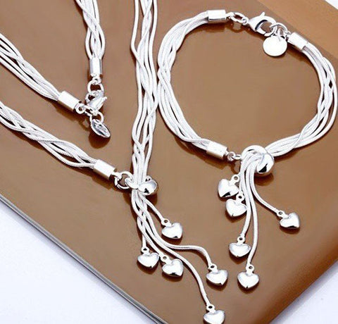 Sterling Silver Plated 5 Heart Necklace And Bracelet Set