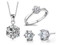 White Gold Plated Engagement Necklace, Earrings and Ring Set