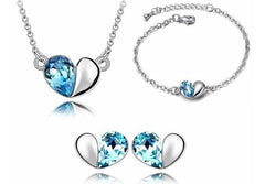 White Gold Plated Crystal Heart Necklace, Earrings and Bracelet Set