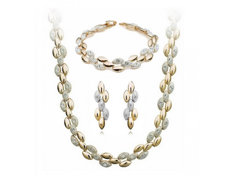 18K Gold Plated Crystal Grain Necklace, Bracelet and Earrings Set