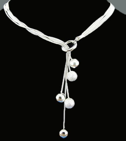 Sterling Silver Plated Chain Ball Necklace