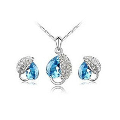 White Gold Plated Leaf Crystal Necklace and Earrings Set