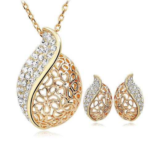 18k Gold Plated Hollow Leaf Necklace and Earrings Set