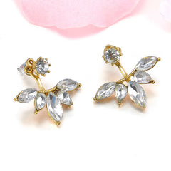 18K Gold/Silver Plated Five Leaves Earring With Swiss Crystals