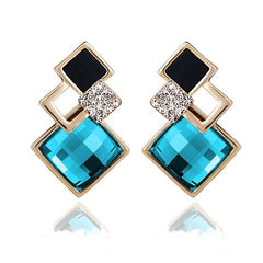 18K Gold Plated Rectangle Party Earrings With Swiss Crystals