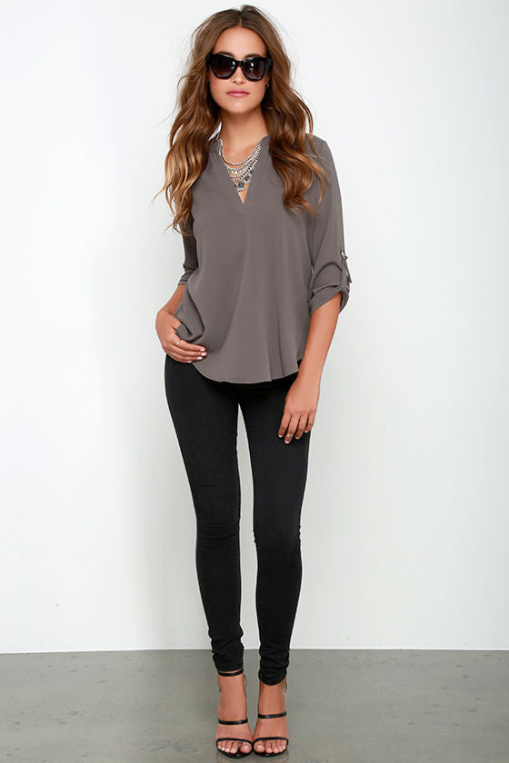 Ladies V-Neck Chiffon Blouse