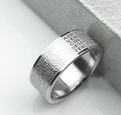 Men's Titanium Steel Cross Pattern Ring