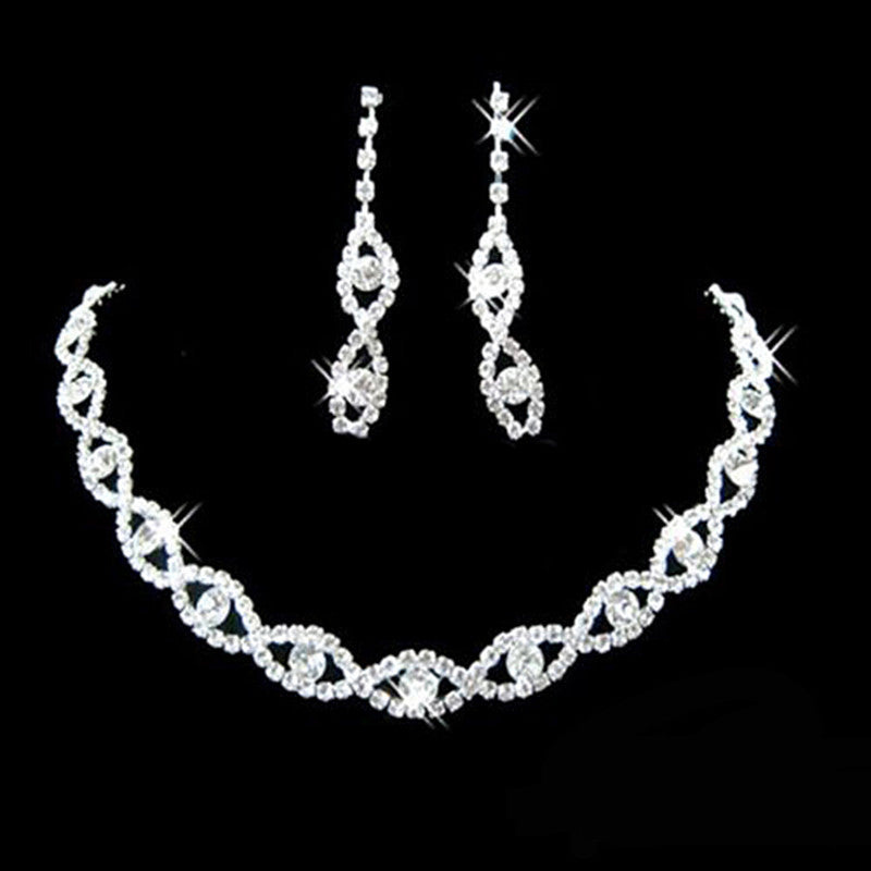 Ladies Crystal Twisted Necklace and Earrings Set