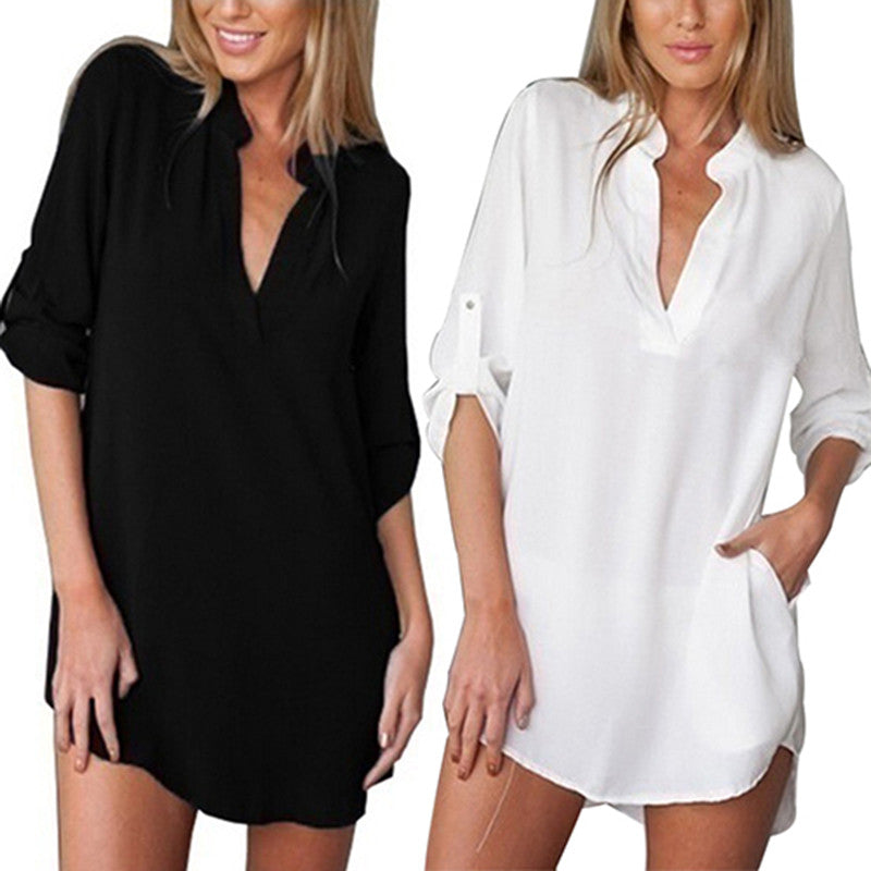 Leanne V-Neck Long Casual Blouse with Pockets