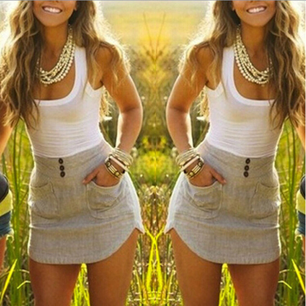 Womens Modern Tank Top Skirt and Blouse