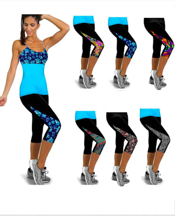 Chloe Print Panel Sports Capri Leggings