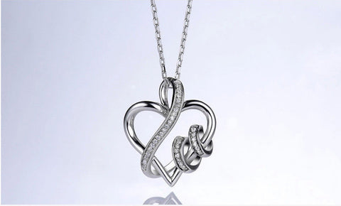 Genuine 925 Sterling Silver Heart Shaped Necklace