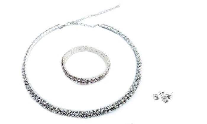 Necklace, Bracelet and Double Earrings Set with Swiss Crystals