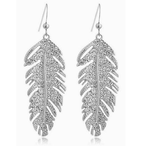 18K Gold Plated Crystal Leaf Earrings
