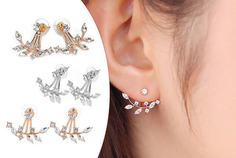 18K Gold Plated Twig Earrings With Swiss Crystals