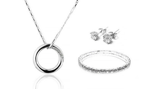 Sterling Silver Ornament Necklace, Bracelet and Earrings Set