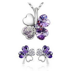 18K White Gold Plated Lucky Clovers Necklace and Earrings Set