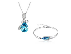 18k White Gold Plated Set Heart of the Ocean Necklace and Bracelet