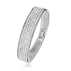 18K White Gold Plated Star Dust Bracelet With Swiss Crystals