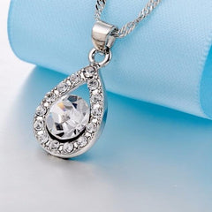 Platinum Plated Gleam Necklace and Earrings Set with Swiss Crystals