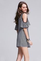 Ladies Strapless Black and White Striped Dress