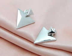 Sterling Silver and Gold Plated Triangle Earrings