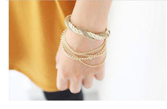 Womens Gold Chain Braided Rope Bracelet