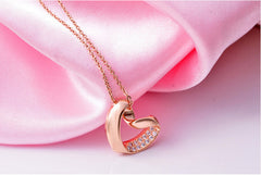 Gold Plated Slanted Heart Necklace with Swiss Crystals