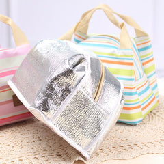 Striped Thermal Insulated Lunch Bag