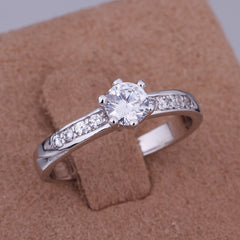 White Gold Plated Ladies Engagement Ring