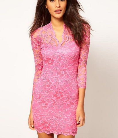 Ladies Sexy V-Neck Slim Lace Dress
