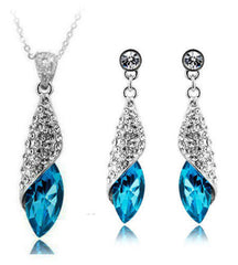 Platinum Plated Dust Necklace and Earrings Set