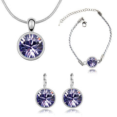 18k White Gold Plated Necklace, Earrings and Bracelet Set with Swiss Crystals