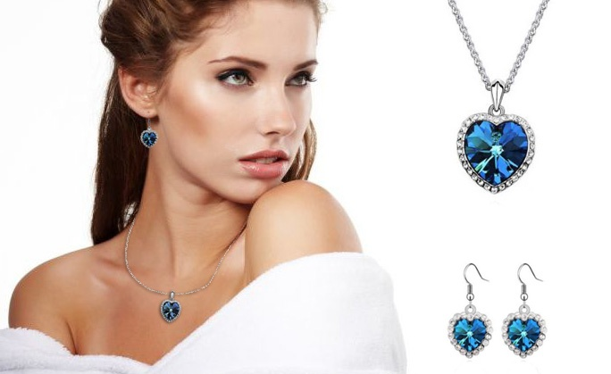 White Gold Plated Swarovski Titanic Hearts Necklace and Earrings Set