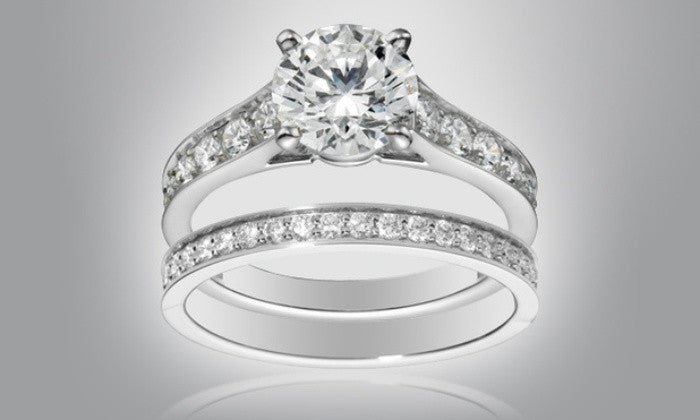18k White Gold Plated Solitaire Double Ring with Crystals