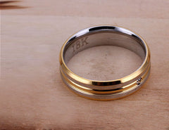 Men's 18k Silver & Gold Plated Striped Ring