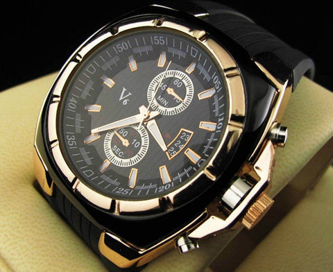 Men's V6 Quartz Round Dial Watch