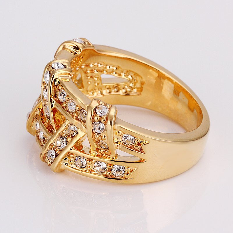 18k Ladies Woven Gold Ring – Shop Chainz