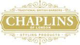 Logo of Chaplin's of London in colour Gold with curley frame.