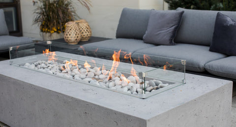 Rectangle fire pit with seating