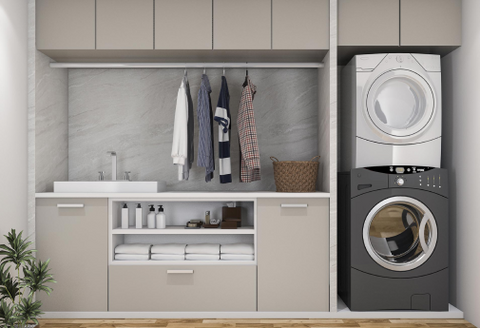 new laundry with appliances stacked