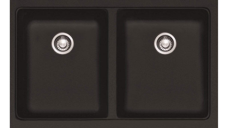 Bad und Kuche - Black Double Bowl Undermount Sink BKR76D-B
