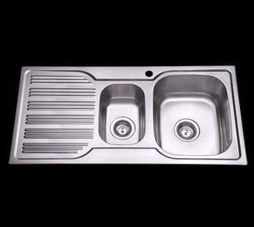 Bad und Kuche Kitchen Sink 1 + 1/2 Bowl RHB with Square Edges BK98-S