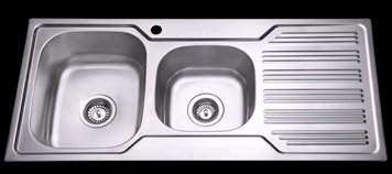 Bad und Kuche Kitchen Sink 1 + 3/4 Bowl  - LHB with Square Edges BK108-S