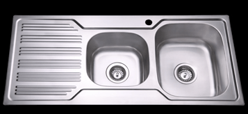 Bad und Kuche Kitchen Sink 1 + 3/4 Bowl - RHB with Square Edges BK108-S