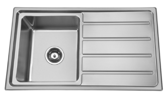 Bad und Kuche Kitchen Sink 1 Bowl + Drainer RHB - Square BK86S
